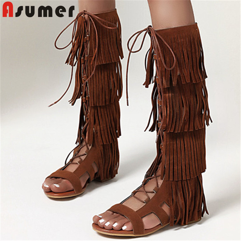 ASUMER 2020 new fashion knee high boots women flock zip cross tied tassel summer boots low heel casual gladiator shoes woman
