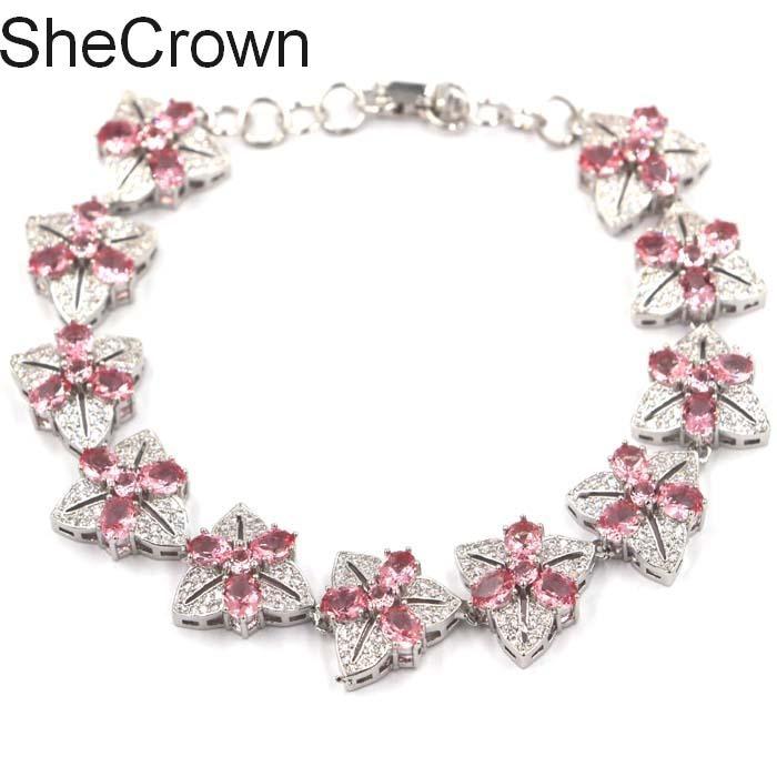 Romantic Flowers Pink Morganite CZ Ladies Party Silver Bracelet 7 5 8 0in 15x15mm