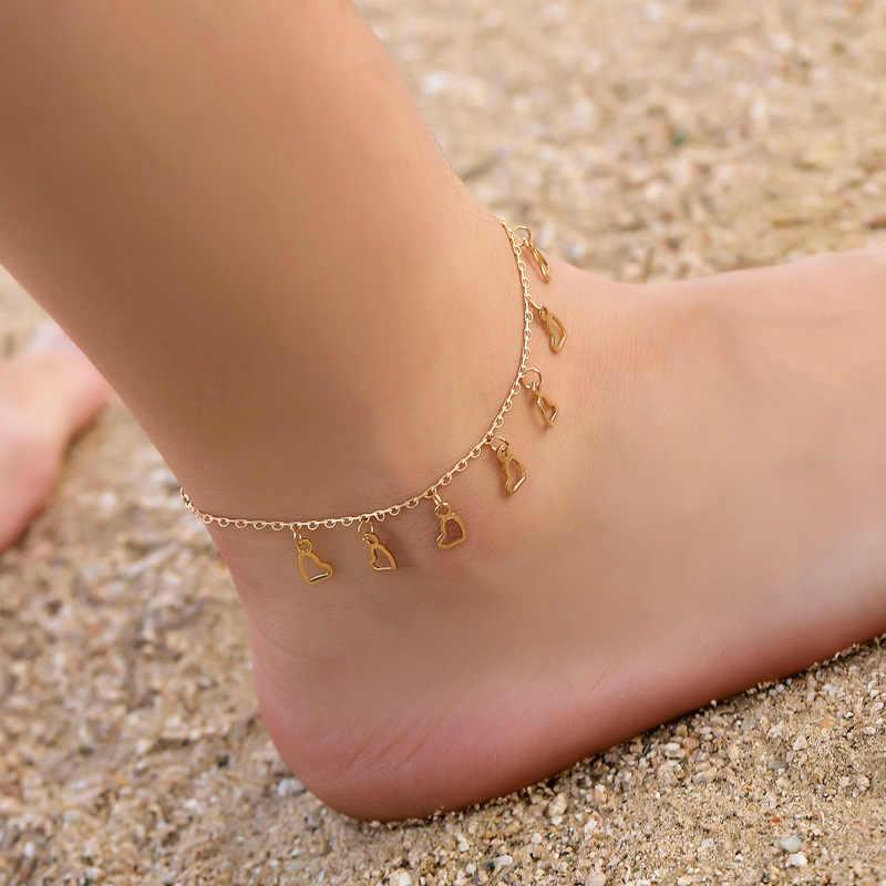 ハート女性アンクレット素足かぎ針編みサンダルフットジュエリー脚新アンクレット足足首のブレスレット女性の脚チェーン