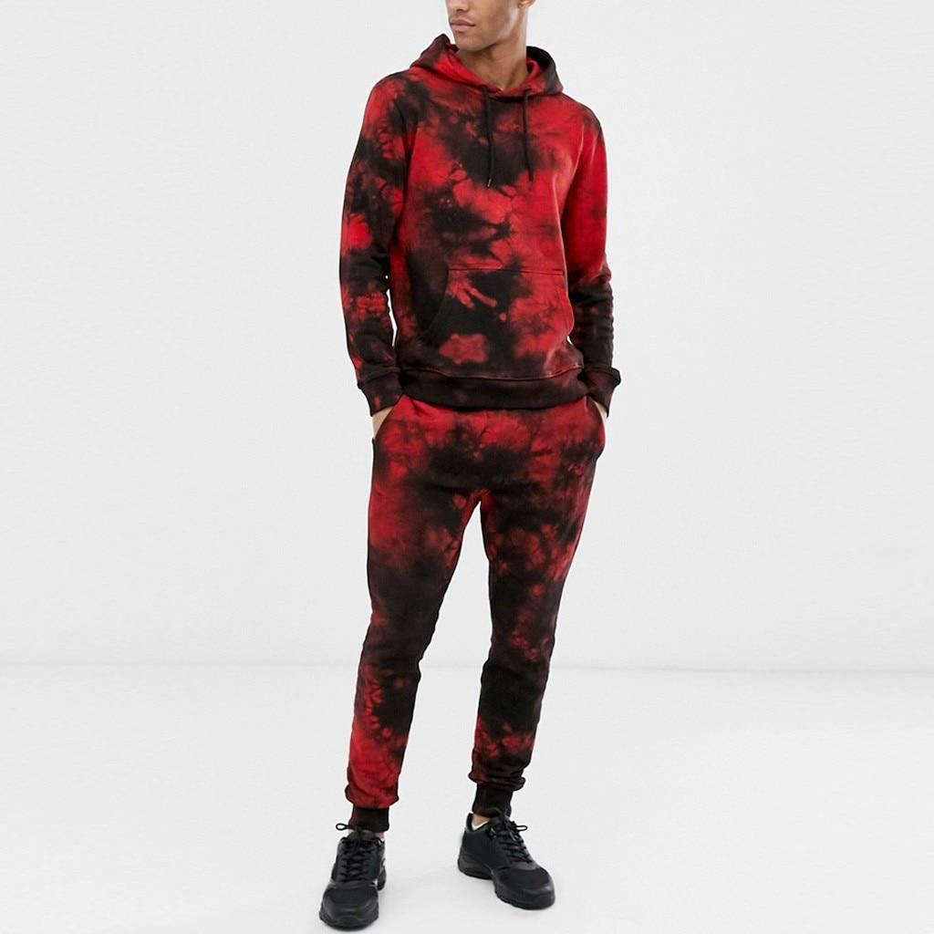 Men's Autumn Winter Tie Dyeing Print Sets Men Fashion Sport Suit Sweatshirt Top Pants Set 2 Piece Set Tracksuit Streetwear Z0923