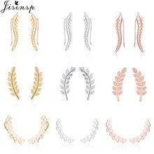 Jisensp boho botânico do vintage folha de orelha alpinistas statement brincos para mulheres jóias de noiva folhas ramo rastreador de orelha
