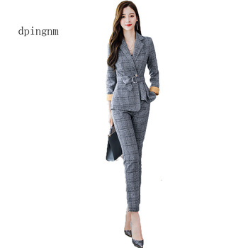 2019 New Business Pant Suits High Quality Set Blazers Formal Women OL Elegant Plaid 2 Piece Sets Uniform Jackets Set фото