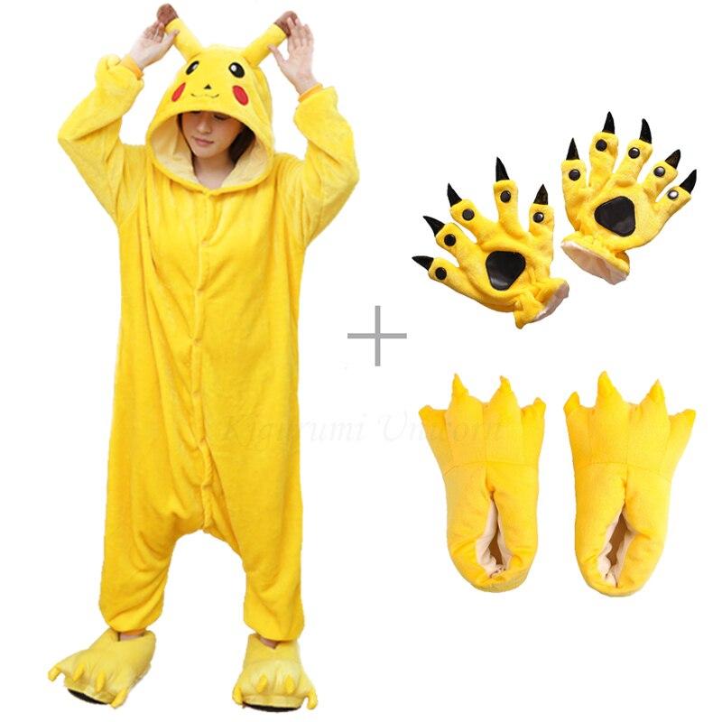 Kigurumi Unicorn Pajama Adult Animal Pikachu Onesie Women Men Couple 2019 Winter Pajamas Suit Stitch Sleepwear Flannel Pijamas
