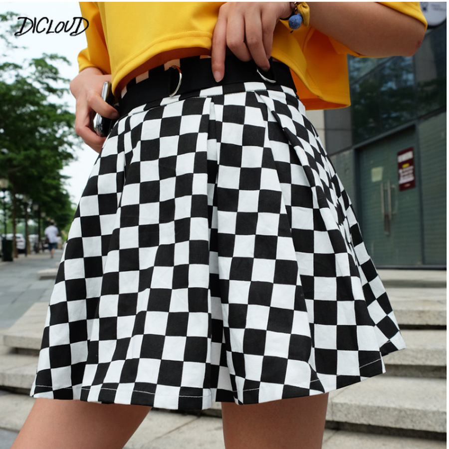 DICLOUD 2019 Pleated Checkerboard Skirts Womens Harajuku High Waisted Skirt Casual Dancing Korean Sweat Short Summer Mini Skirts