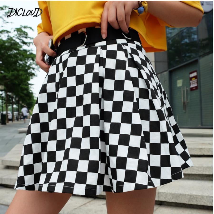 DICLOUD 2019 Pleated Checkerboard Skirts Womens Harajuku High Waisted Skirt Casual Dancing Korean Sweat Short Summer Mini Skirts
