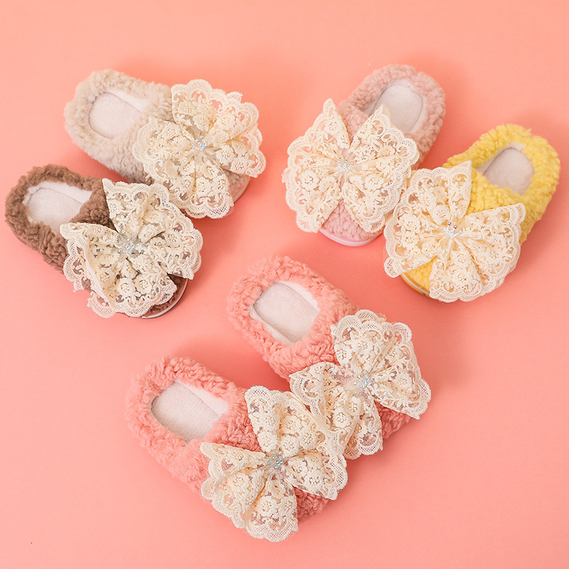 Girls Slippers Winter Warm Lace Bow Decoration Cute Toddler Indoor Slippers Not-slip Soft Furry New Arrival 2021 Colorful Shoes Factory Direct Selling Price