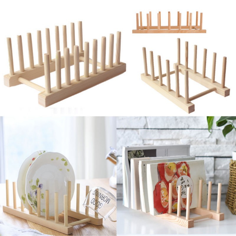 Kitchen Dish Drain Rack Dinnerware Storage Organizer Tray Plate Drying Shelf Wooden Book Cups Display Stand Drainer Holder