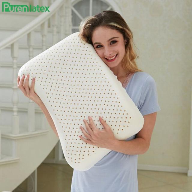 PurenLatex 57x37 Ventilated Thailand Pure Natural Latex Pillow Concave Anti-Stiff Soft Orthopedic Pillow Vertebrae Health Care 8