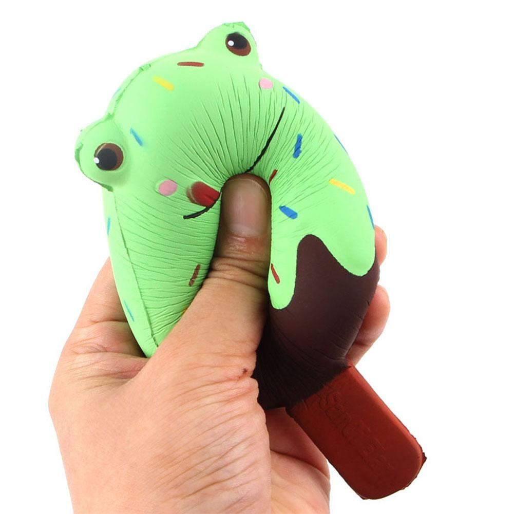 Squishy Cute Froggy Face Simulation Ice Cream Shape Toy Squeeze Slow Rising Cartoon Froggy Stress Relieve Toy Random Color