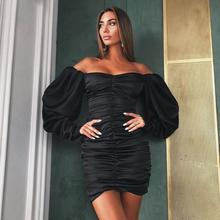 все цены на Autumn Women Sexy Solid Off Shoulder Mini Dress Party Long Sleeve Backless Dress Bodycon Wrap Pleated Short Dress онлайн