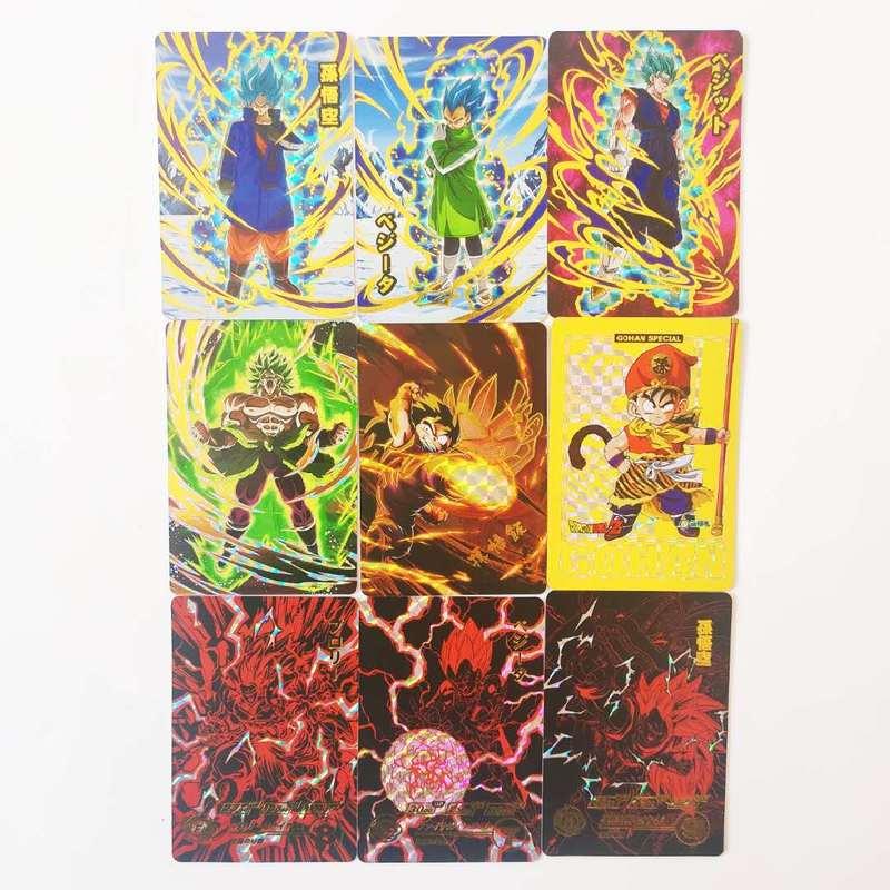 9pcs/set Super Dragon Ball Z Bronzing Heroes Battle Card Ultra Instinct Goku Vegeta Game Collection Cards Free Shipping