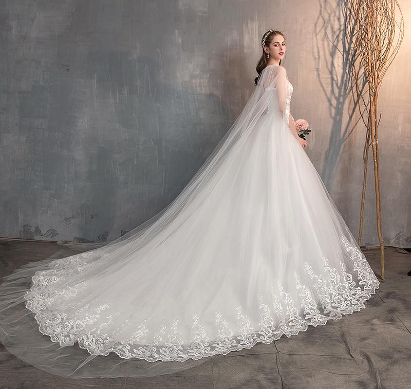 Long Cap Lace Wedding Gown Bridal Dress 6