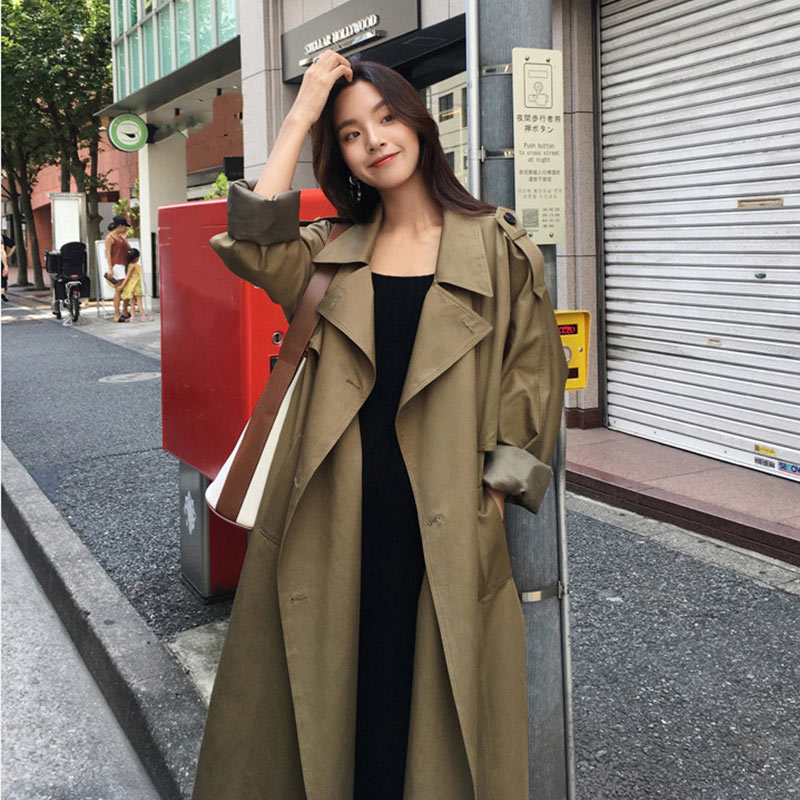 Women's Autumn Long   Trench   Coats Belt High Street Double Breasted Outwear Female Khaki 2019 Winter Fashion Casual Trenchs Woman