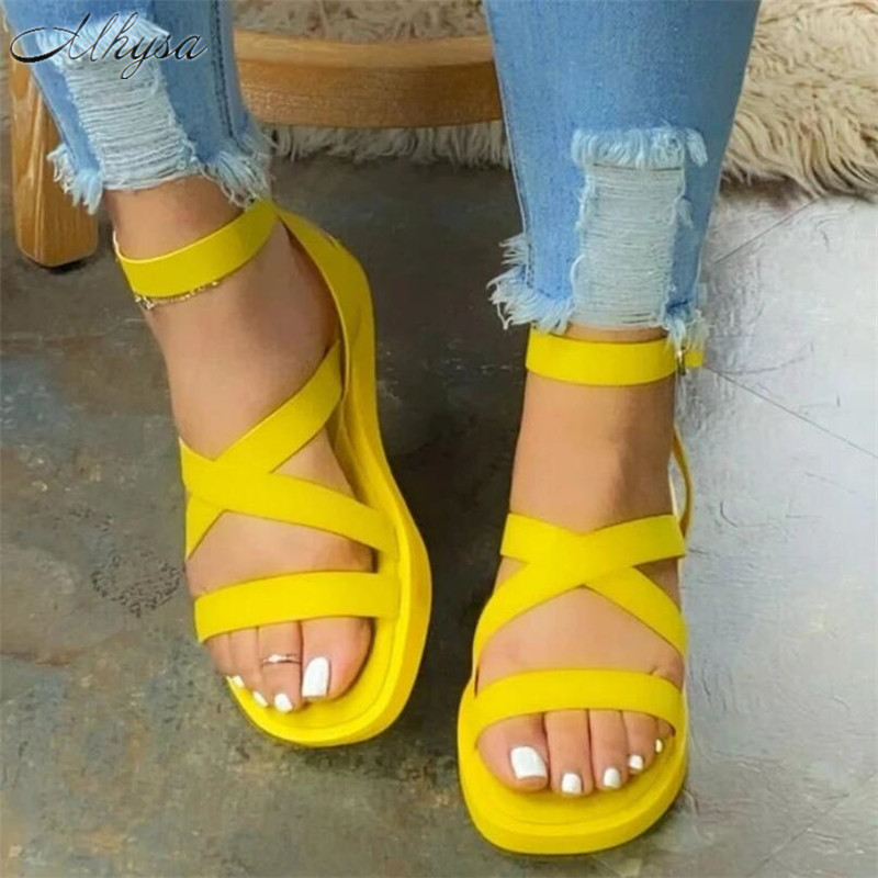 2020 Summer Shoes Woman New Simple Sandals Women Shoes Fish Mouth Pu Leather Buckle Strap Women Flat Casual Shoes Women Sandals