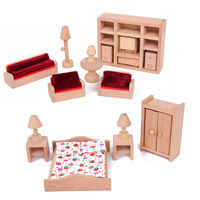 7 Sets Mini Household Set Wooden Furniture For Doll House Decoration For Children Play Game Education Christmas Birthday Gift