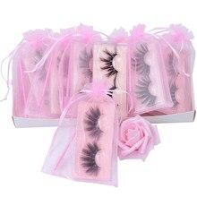25mm 5d falso vison cílios grandes muito longos densos dramáticos sem crueldade fofos eyeashes artificiais com saco de organza rosa