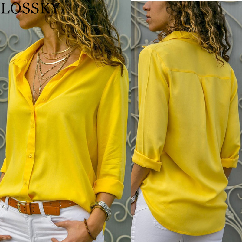 Women White Blouses Basic Selling Button Solid 2020 summer Long Sleeve Shirt Female Chiffon Women's Slim Clothing Plus Size Tops(China)