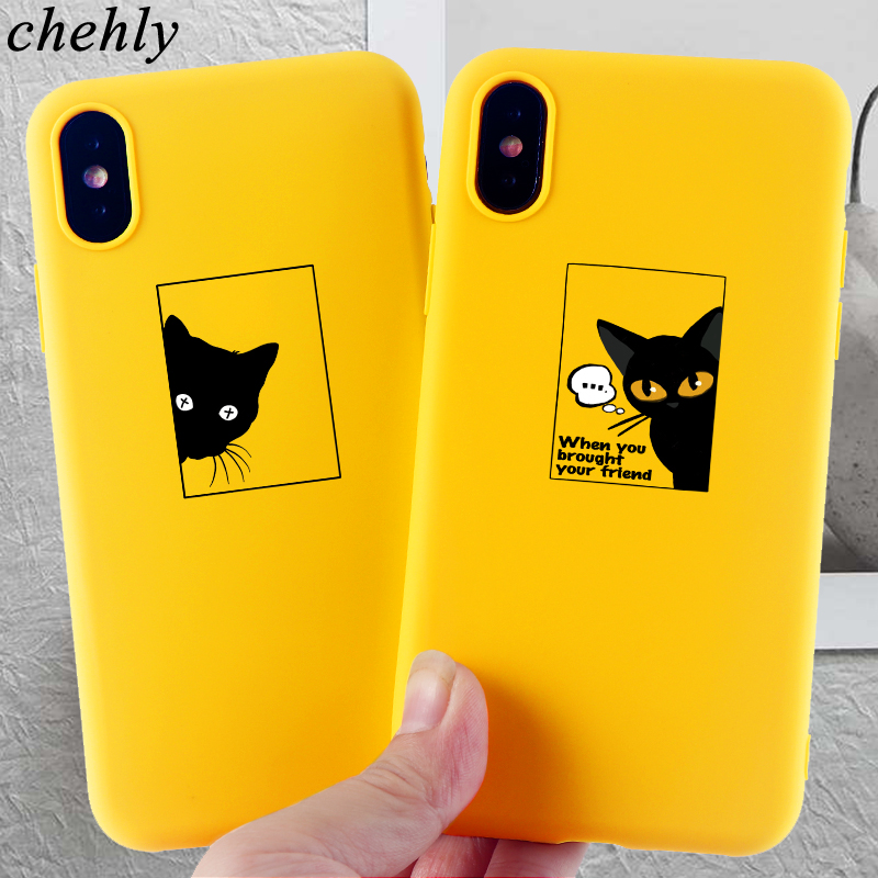 Funny Cell Phone Case for IPhone 6s 7 8 11 Plus Pro X XS MAX XR Cute Cat Cases Soft Silicone Fitted TPU Back Accessories Covers