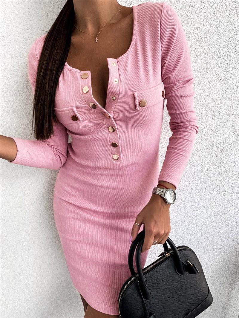 Sexy V-Neck Long Sleeve Knitting Dress Winter Warm V-Neck Long Sleeve Jersey Dresses Fashion Party Bodycon Slim Hips Mini Dress
