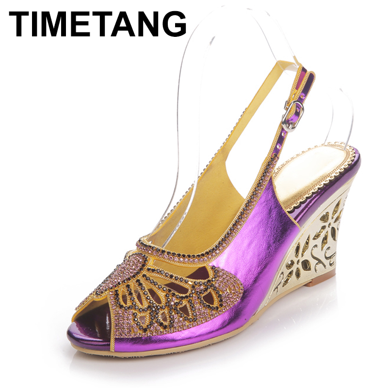 Purple Sandals Shoes Heel Ankle-Strap Wedding-Dress Crystal Spring Timetangbutterfly-Design