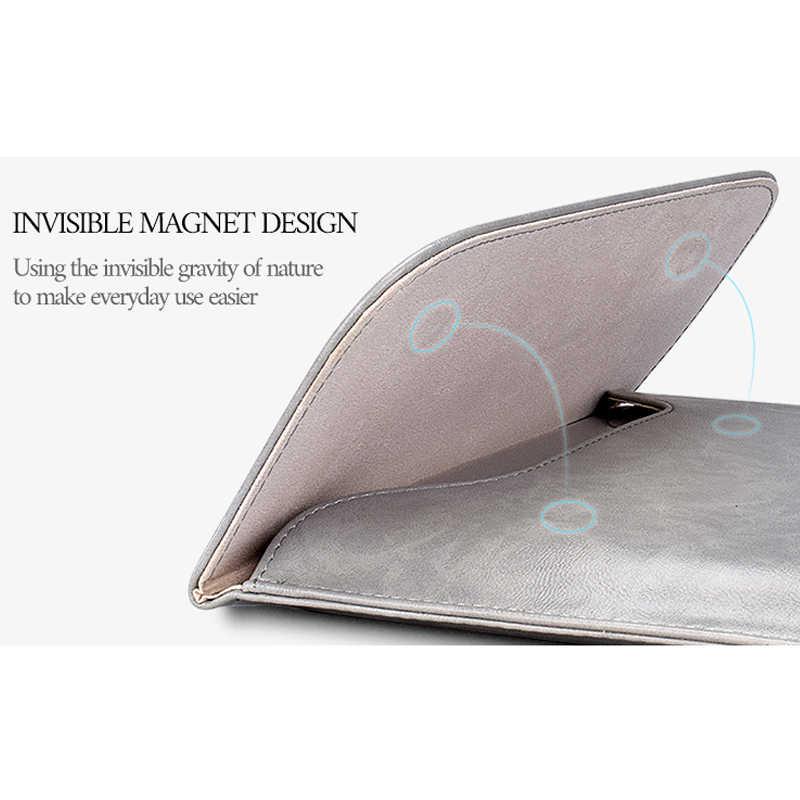Wodoodporny rękaw ze skóry pu torba na laptopa z torbami do przechowywania Macbook Air 13 2018 identyfikator dotykowy Pro 16 2019 Case 11 12 15 obudowa funda