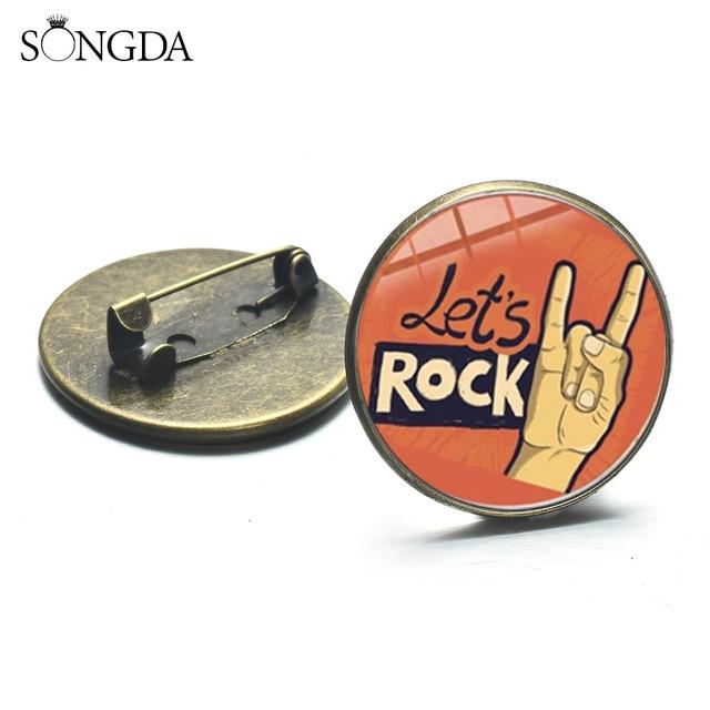 Zespół rockowy fajne gest odznaki Harajuku styl Hip Hop Rock ręcznie drukowane szkło okrągłe broszka RockinRock Denim kurtki wystrój