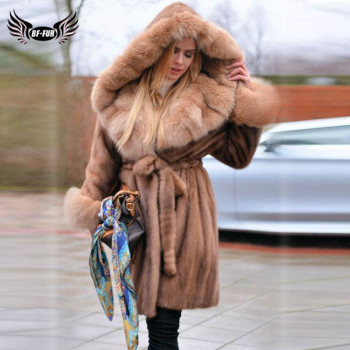 цена Luxury Women Winter Real Mink Fur Coat Long With Big Fox Fur Trim Of Hood Natural Genuine Mink Fur Jacket With Fur Belt Overcoat онлайн в 2017 году