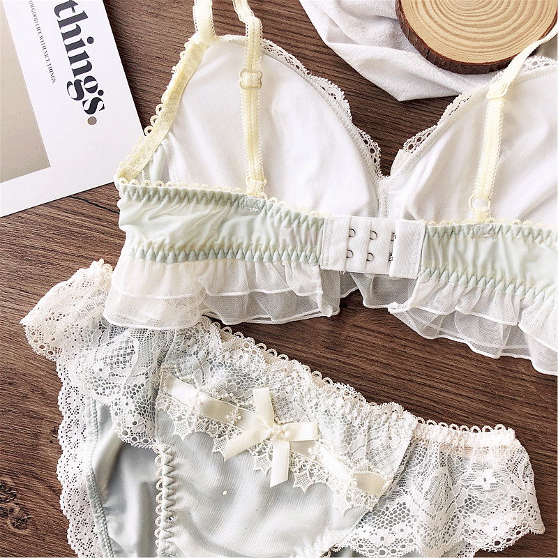 Image 5 - Wriufred girl sense chiffon lace lingerie sets no steel ring triangle cup bra and panties sweet size M L underwear set bra capBra & Brief Sets   -