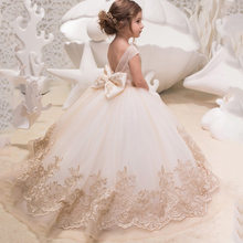 Champagne Lace Ball Gown Flower Girl Dress Backless Girl Princess Dress Illusion Girl Wedding Party Dress First Communion Dress
