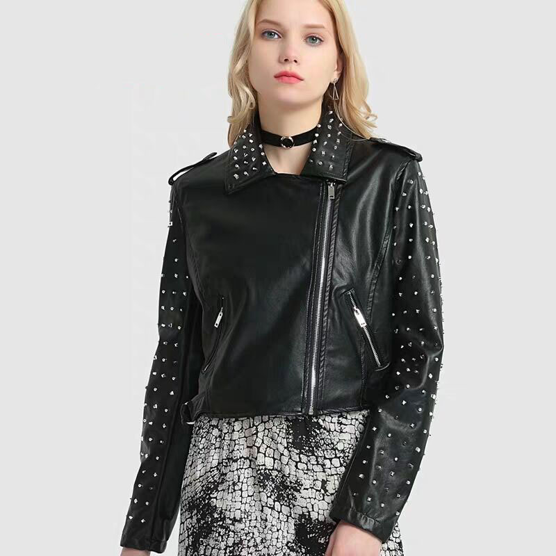 2019 New style PU   leather   women's short jacket Slim beaded PU jacket punk lapel autumn   leather   jacket cool locomotive clothes
