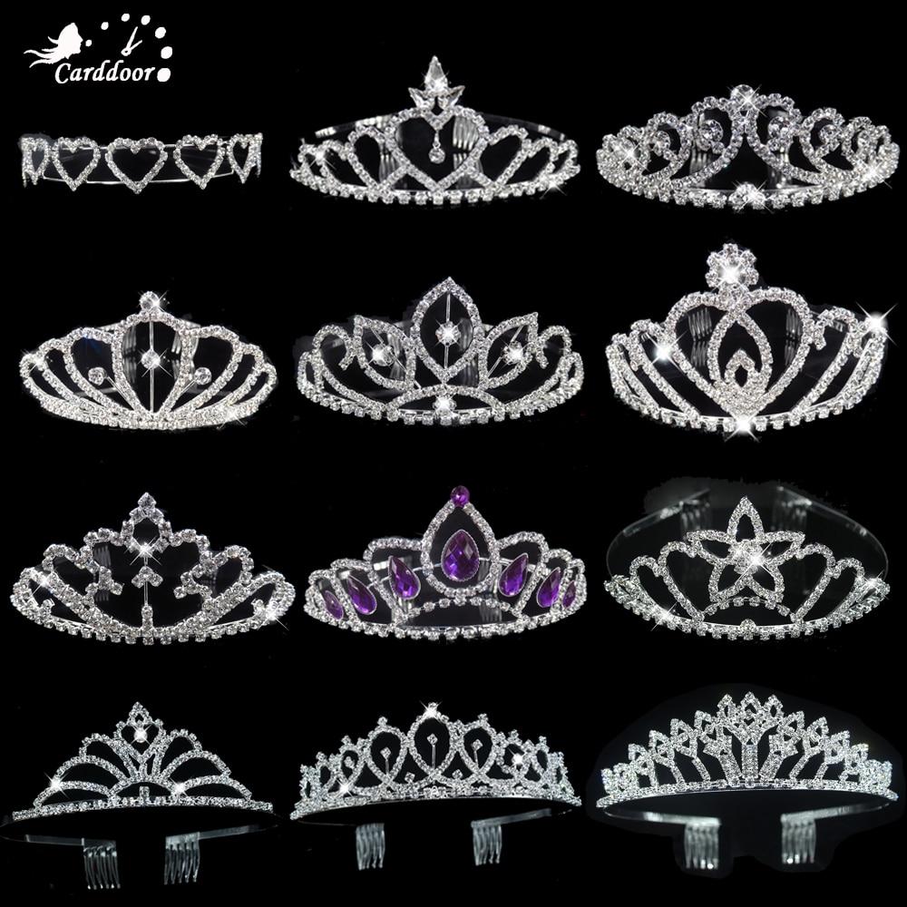 Carddoor Princess Crowns Headband Tiaras Hair-Jewelry Flower Accessiories Crystal Bridesmaid Wedding-Crown Bride Party-Gift