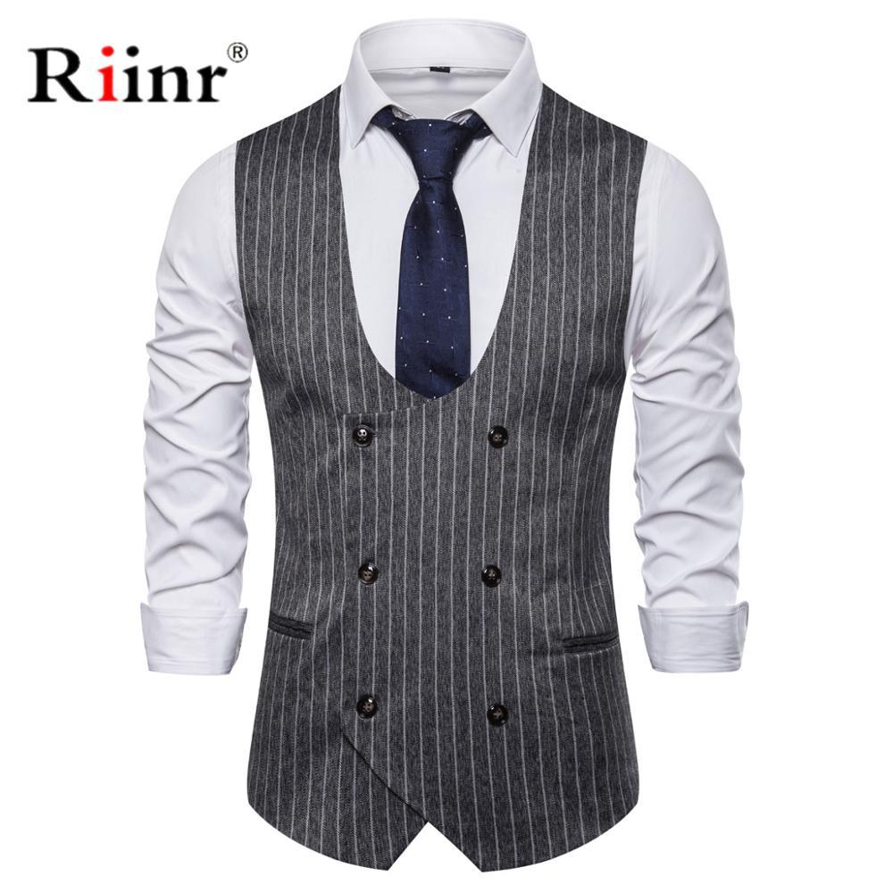 Double Breasted Suede Vest Men 2019 Casual Slim Fit V Neck Grey Mens Vests Gentleman Suit Gilet Homme Tops Chalecos Para Hombre