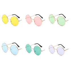 1PCS Retro Vintage Sunglasses Round Metal Sunglasses Men Women Fashion Glasses Driver Goggles Brand Designer