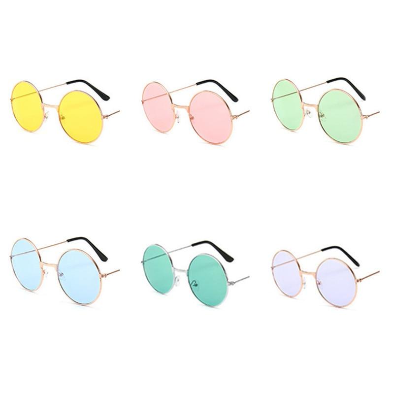 Gafas de sol redondas de Metal para hombre y mujer, lentes de sol unisex de estilo Retro Vintage, a la moda, de diseñador de marca, 1 Uds.