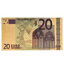7 pçs/lote 5 10 20 50 100 200 500 euros notas de ouro em 24k ouro falso dinheiro de papel para a coleção conjuntos de notas de euro quente