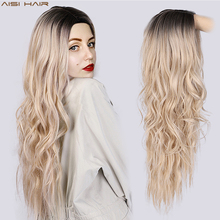 AISI HAIR Long Wavy Ombre Blonde Wig Platinum Blonde Synthetic Wigs for African American Women Two Tone Natural Middle Part Wig long straight wavy curly short ombre blonde wig platinum blonde synthetic wigs for women natural middle part wig