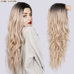 AISI HAIR Long Wavy Ombre Blonde Wig Platinum Blonde Synthetic Wigs for African American Women Two Tone Natural Middle Part Wig(China)