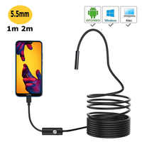 HD Android PC 1m 1.5m 2m 7mm Endoscope Camera HD USB Endoscope With 6 LED Soft Cable Waterproof Inspection Borescope
