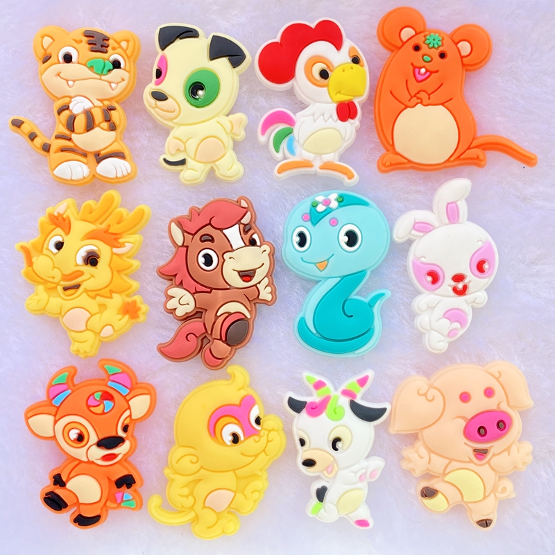 12pcs Lovely Cartoon animals with personality PVC Flexible Glue Flat Back DIY Scrapbook Embellishment Phone Craft Decoration F92