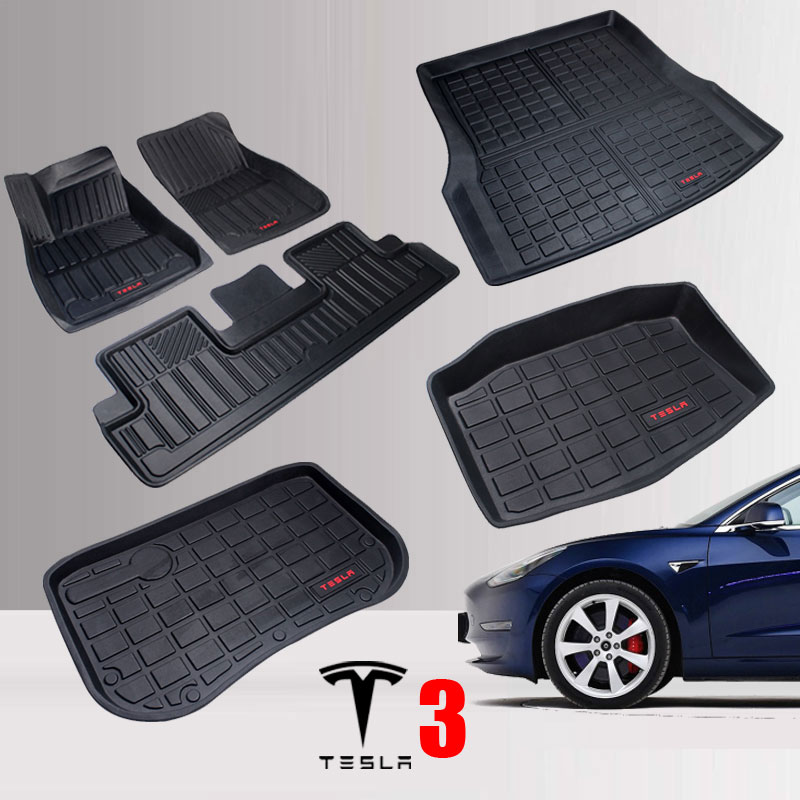 Trunk-Mat Car-Accessories Car-Floor-Mats Cargo-Liner Tesla-Model Rubber for TPO Black title=