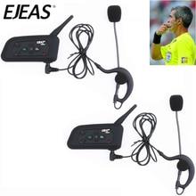 2pcs EJEAS V4C 1200M Full Duplex Football Referee Intercom Headset Bluetooth Headphone with FM Radio BT Interphone Earphone