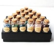 Juego de 18 Uds de piedras de cristal Natural, botellas de deseos de grava, Mini piedras minerales, Reiki, regalo curativo con caja