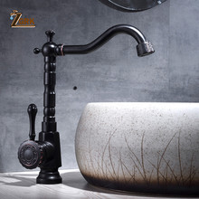 Black Basin Brass Faucets Bathroom Sink Mixer Deck Faucet Rotate Single Handle Hot And Cold Water Mixer Taps Crane Tap цена и фото