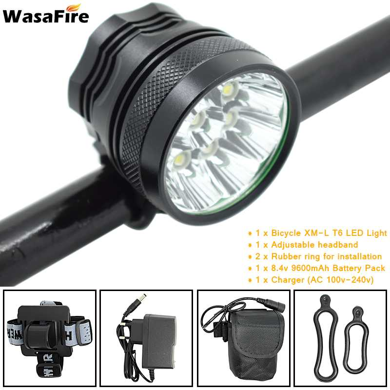 WasaFire 9*XML T6 LED Bicycle Light 15000LM Bike Front Lamp Headlight 3 Modes MTB Cycling Torch 18650 Battery Pack + Charger