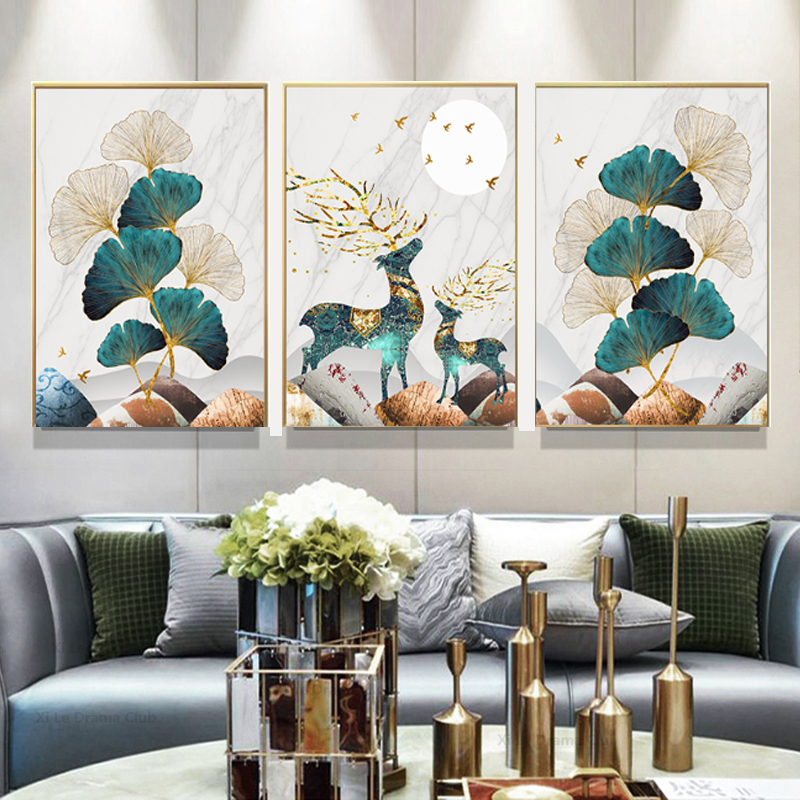 Golden-Abstract-Deer-Tree-Bird-Wall-Art-Canvas-Painting-Nordic-Posters-and-Prints-Decorative-Picture (5)