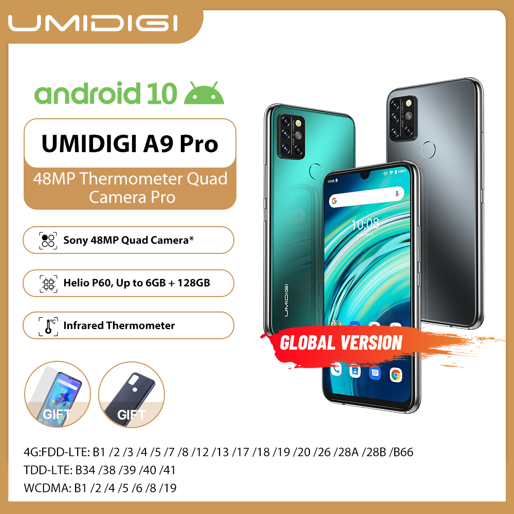 "UMIDIGI A9 Pro SmartPhone desbloqueado 32/48MP Quad Cámara 24MP Selfie Cámara 4GB 64GB/6GB 128GB Helio P60 6,3 ""FHD + versión Global"