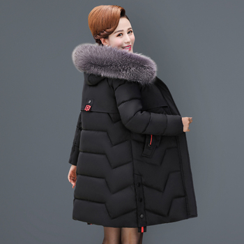 Middle age clothing New warm Cotton clothing coat Large size 5XL Women's winter jacket with hat fur collar Down cotton clothing puimentiua men s winter parker cotton clothing warm fashion cotton clothing jacket large fur collar hooded men s wild 2019