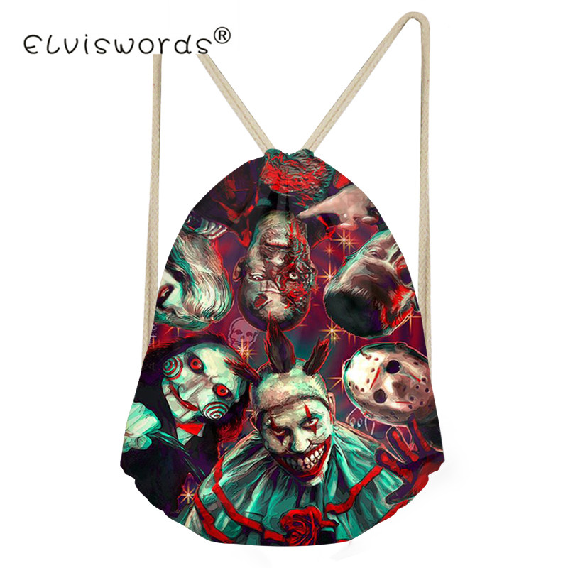 ELVISWORDS Black Halloween Horror Scary Clown Printing Drawstring Bags Women Beach Shoulder Bag Ladies Drawstring Bagpack 2019