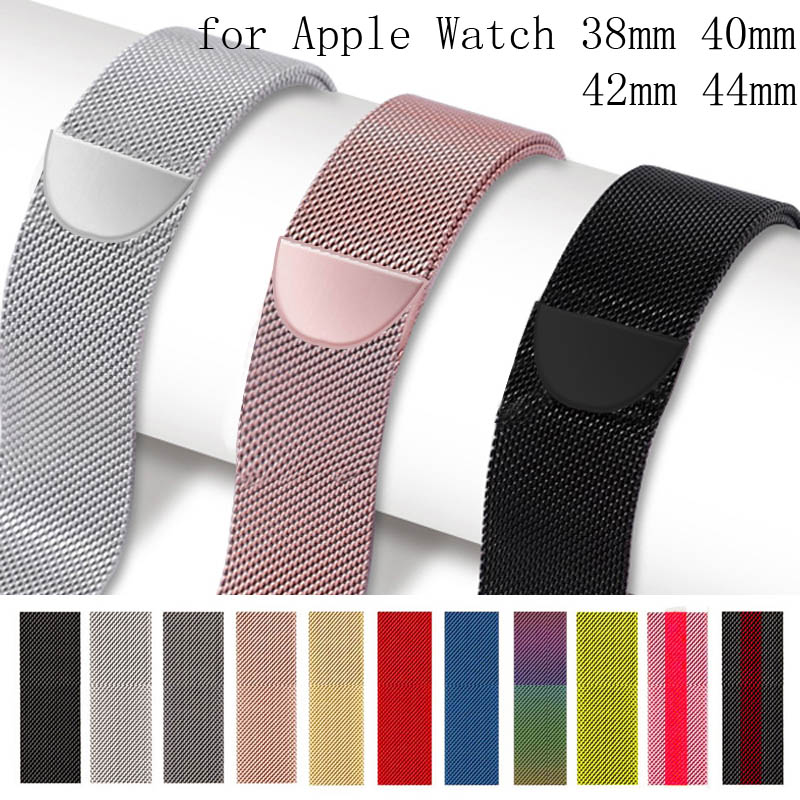 Bracelet Watch-Strap Stainless-Steel-Band Milanese-Loop 44mm For Apple 1/2/3-42mm 38mm