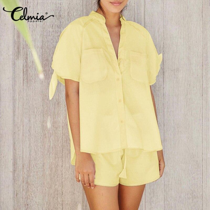 Celmia женские повседневные свободные пижамные комплекты Лето Banddage с коротким рукавом; Топы с v-образной горловиной и свободные короткие штаны...